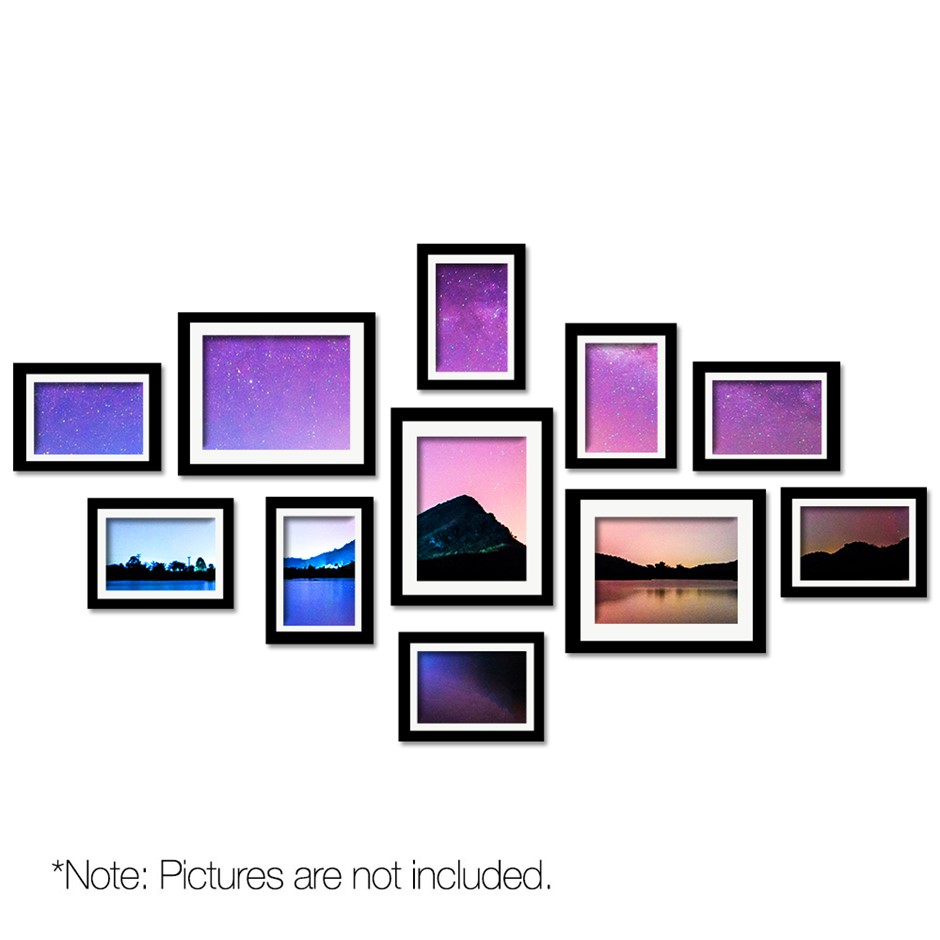 11 Piece Photo Frames Set - Black