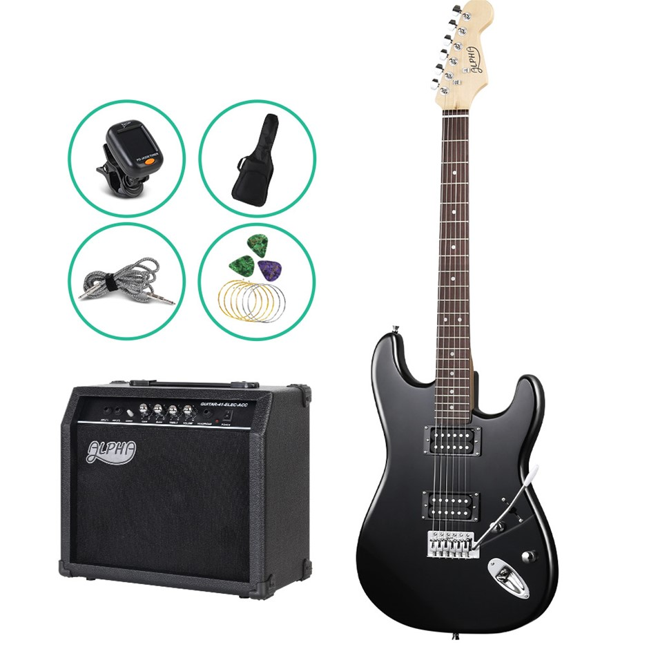 Alpha Electric Guitar and 25W Amplifier - Black