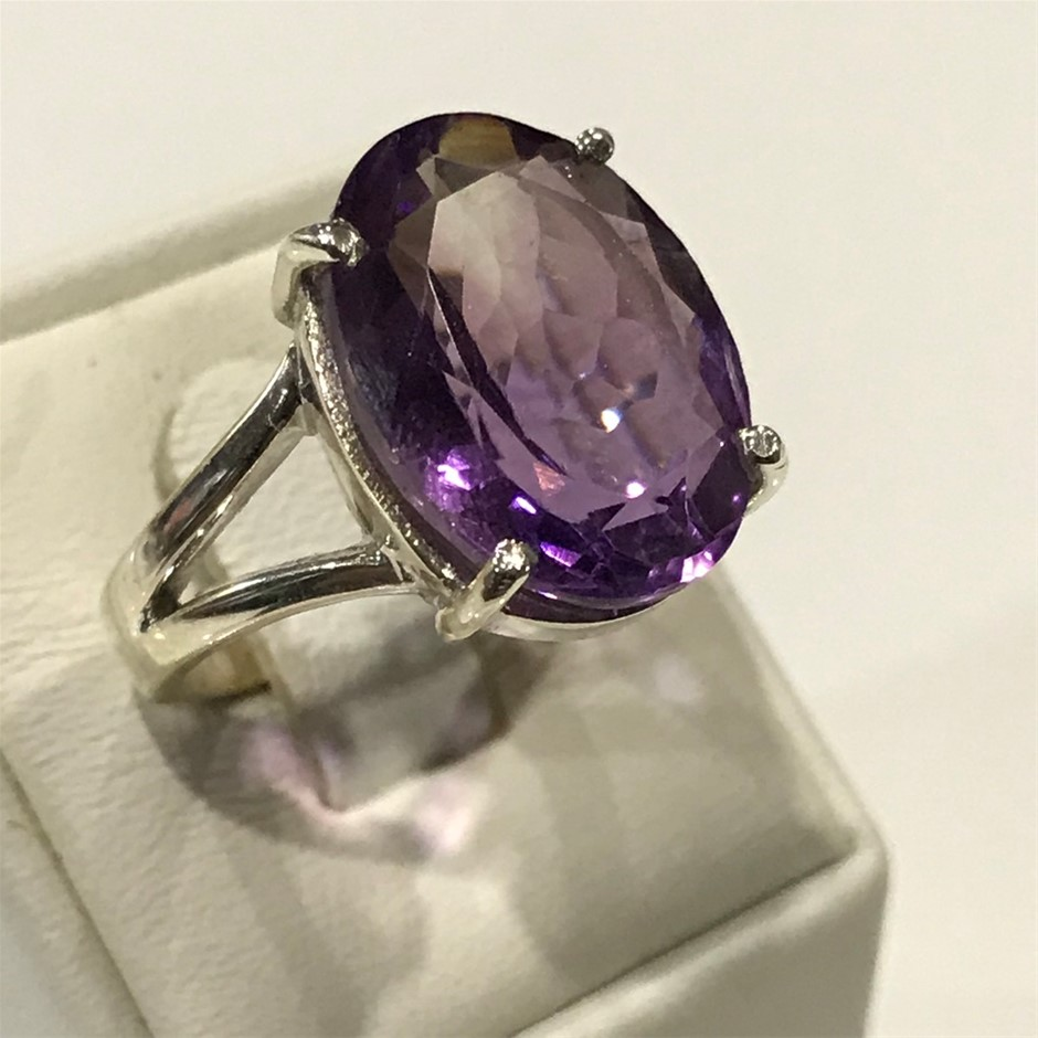 Truly Magnificent Genuine 10.20ct Amethyst Ring Size P 1/2 (8)