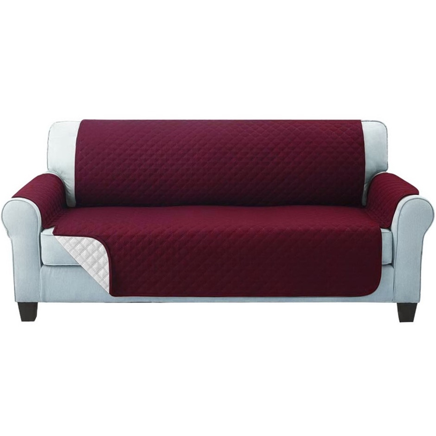 Artiss Sofa Cover Quilted Couch Lounge Protector Slipcovers 3 Seater Red