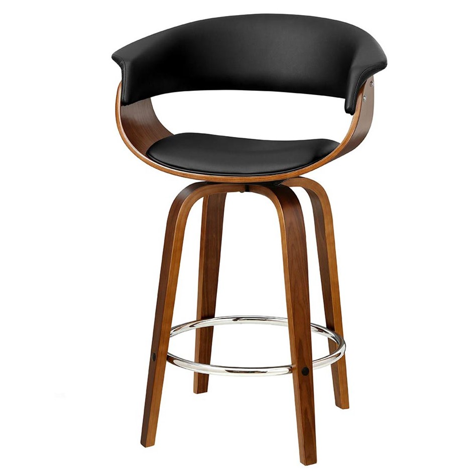 Artiss 1x Swivel Bar Stool Wooden Bar Stool Kitchen Dining Leather Black