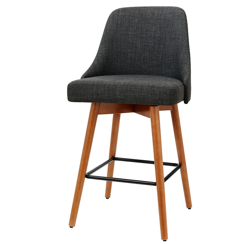 Artiss 2x Wooden Bar Stools Swivel Bar Stool Kitchen Dining Cafe Charcoal