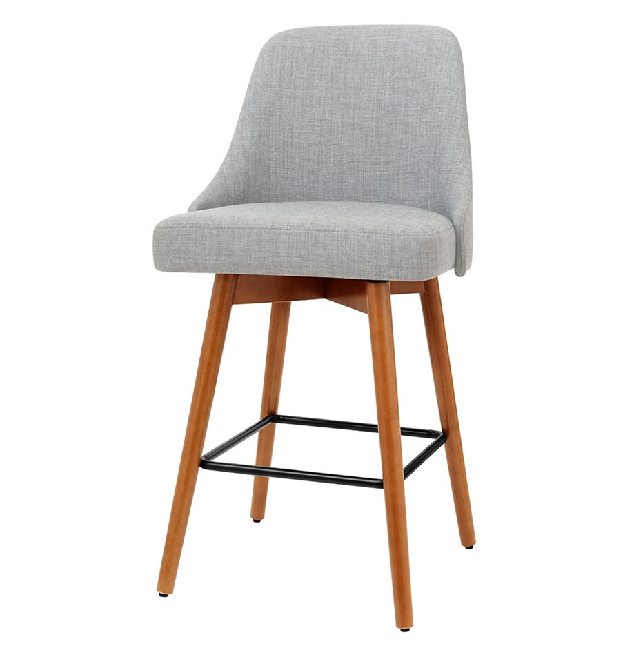 Artiss 2x Wooden Bar Stools Swivel Bar Stool Kitchen Dining Cafe Grey