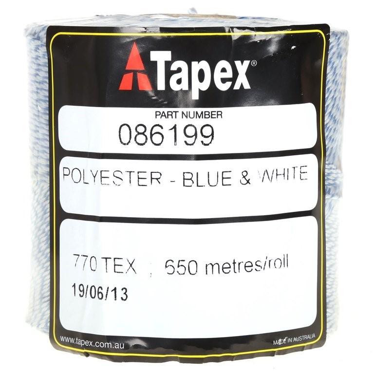 18 Rolls x TAPEX Polyester Twine 550M, Blue & White. (SN:K086199-K18) (2675