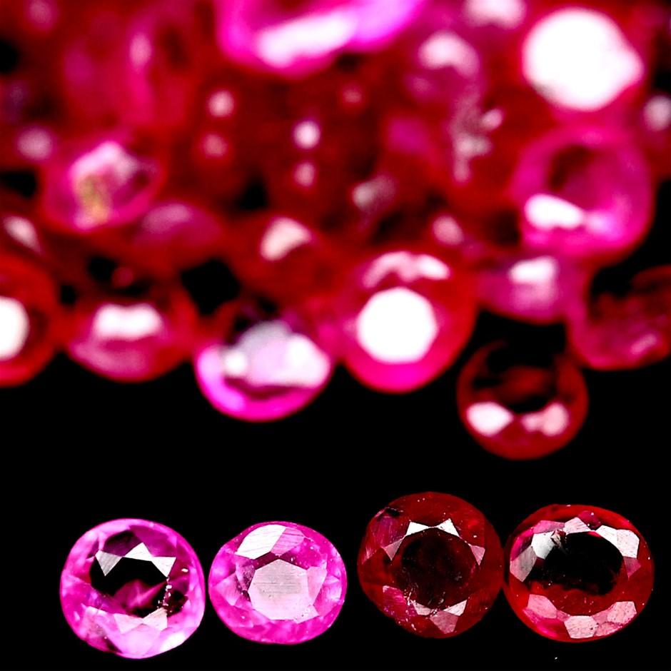 3.37Ct Round Facet Pinkish Red Burmese Rubies 78 Piece