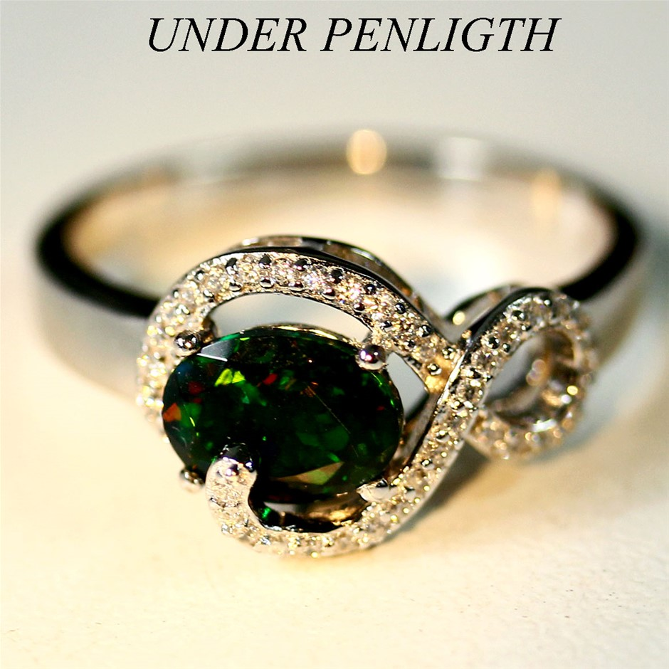 Beautiful Play Of Colour Black Opal Ring.