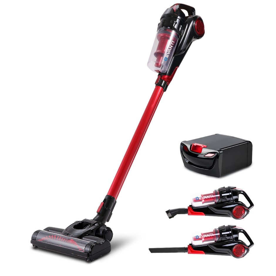 Devanti 120W Stick Handstick Cordless Vacuum Red Black with Spare Battery