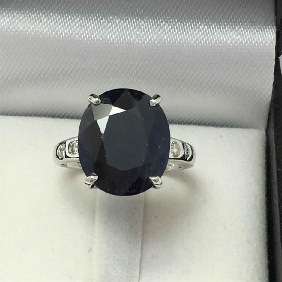 18ct White Gold, 10.12ct Sapphire and Diamond Ring