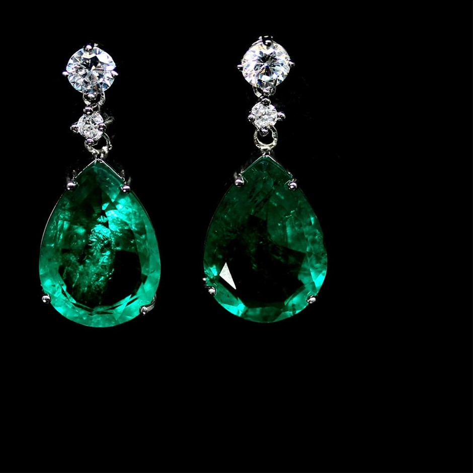 Phenomenal Genuine Emerald Drop Earrings.