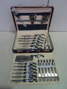 2x Knife Sets, King Tool, Solingen, 24 piece