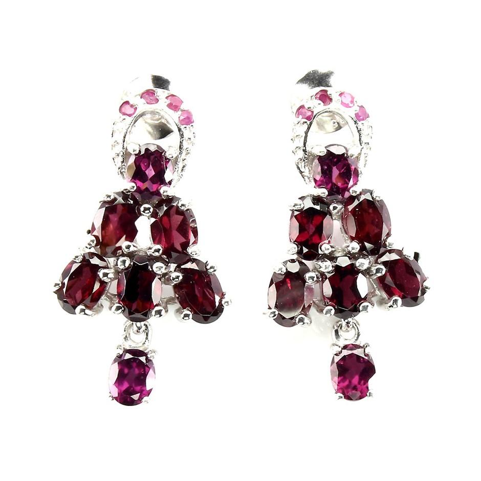 Beautiful Genuine Ruby & Garnet Drop Earrings