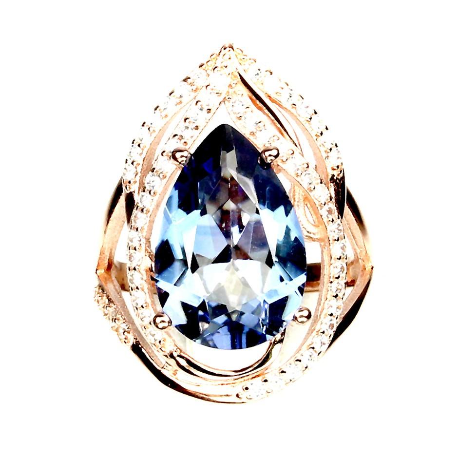 Beautiful Genuine Quartz Rose Gold Ring.