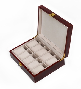 10 Grids Wooden Watch Case Glass Jewelle