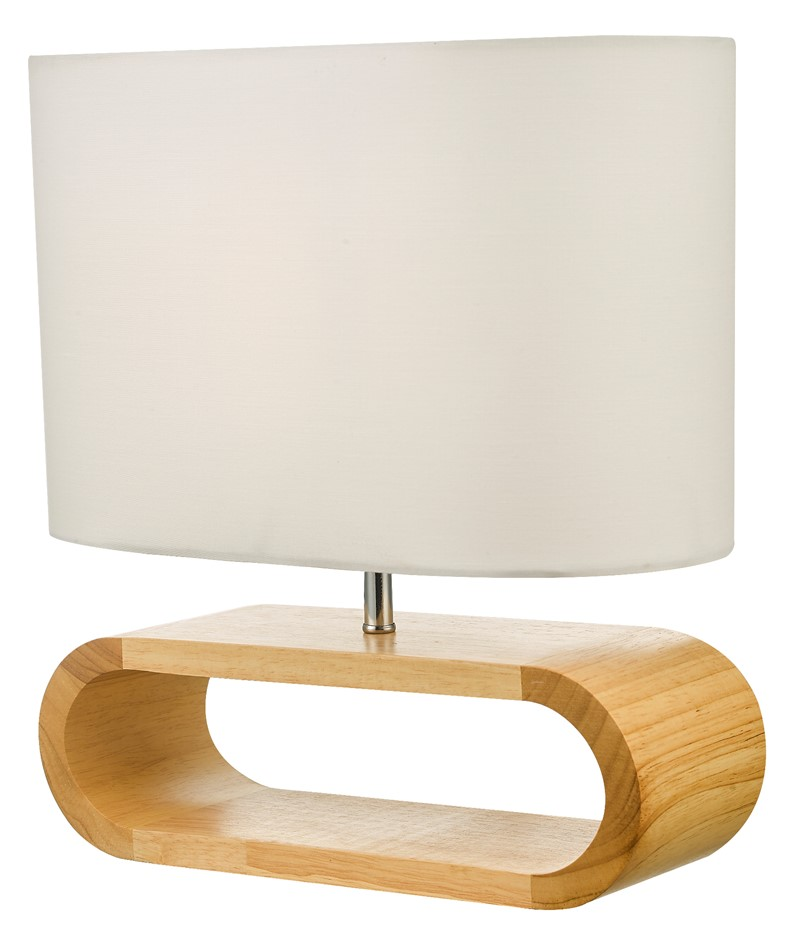 Wooden Modern Table Lamp Timber Bedside Desk Reading Light Brown White