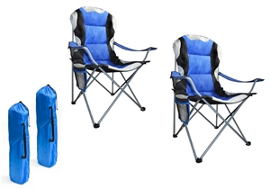 2x Folding Camping Arm Chairs Portable O