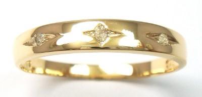 Genuine Diamond 9K Gold Band Ring.