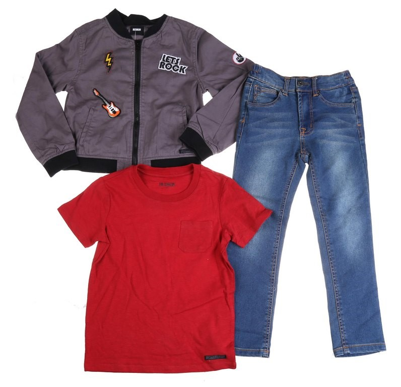 HUDSON Children`s 3pc Set , Size 7, Comprising of Rock Music Print Jacket,