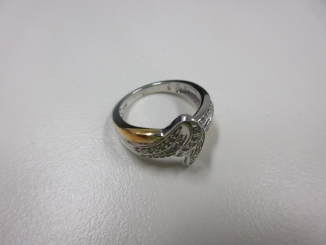 10K 2 Tone Gold Diamond Ring