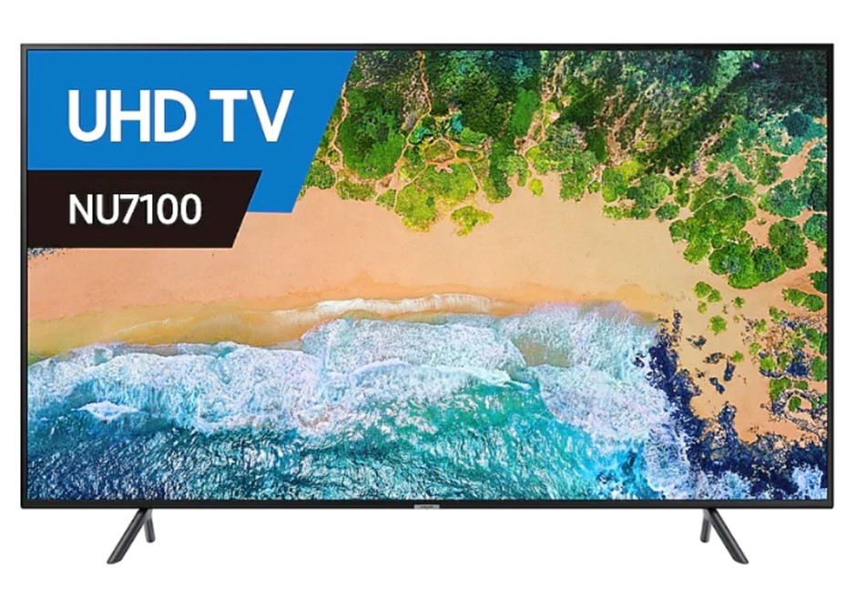 SAMSUNG 49 inch TV. Model UA49NU7100W. Complete with Remote, Cord & Stand.