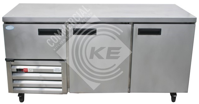 JUST REFRIGERATIN 2 1/2 DOOR COUNTER TOP FRIDGE, QUALITY COMMERCIAL