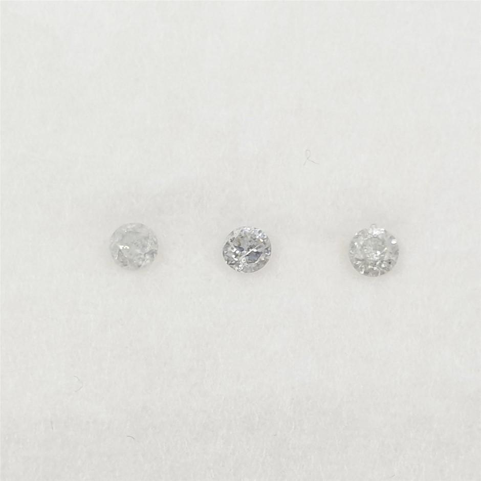 0.10 ct - 3 Pcs of Round Brilliant Cut Diamond