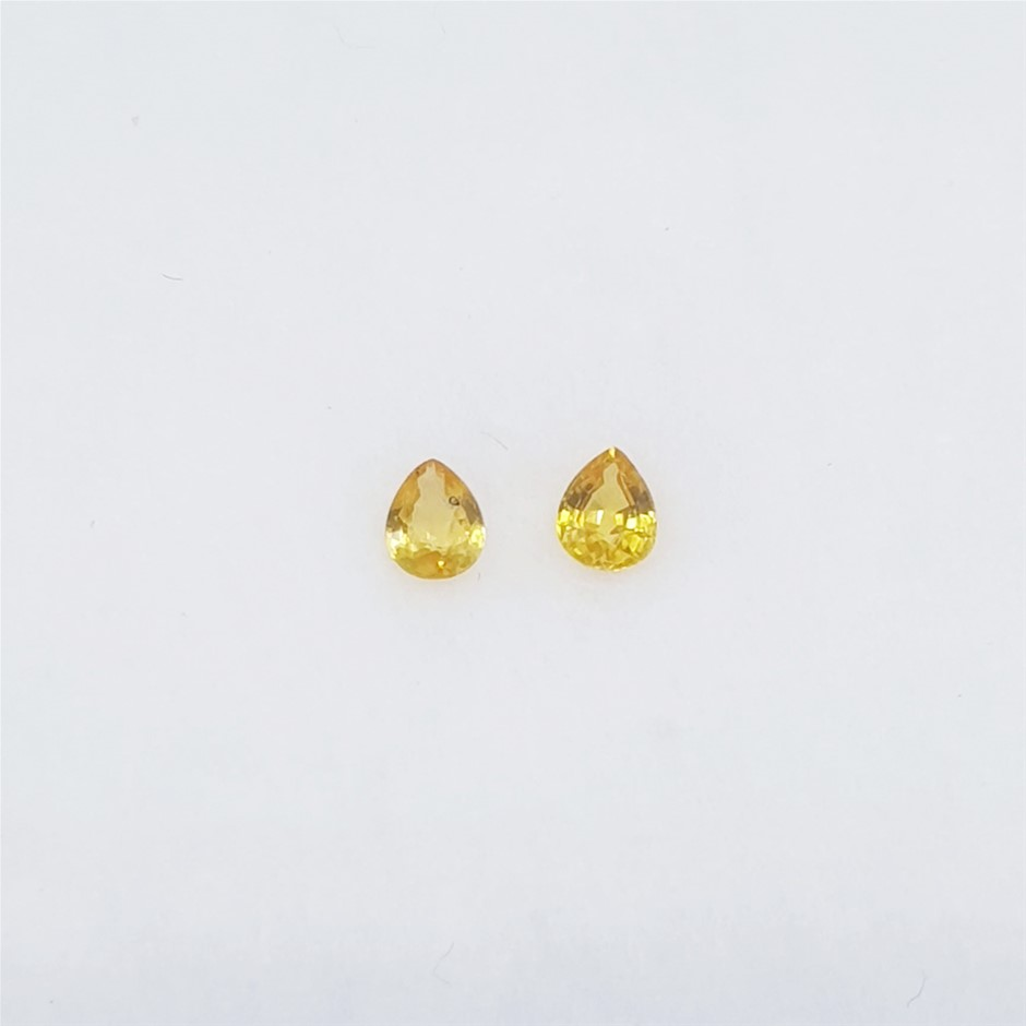 0.36 ct - 2 Pcs of Pear Cut Yellow Sapphire