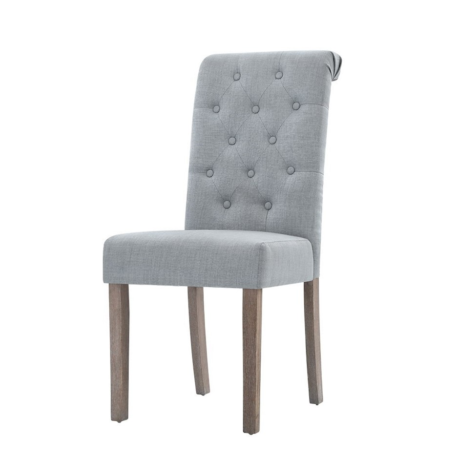 Artiss 2x Dining Chairs French Fabric Padded Chair Cafe High Back Wood Grey