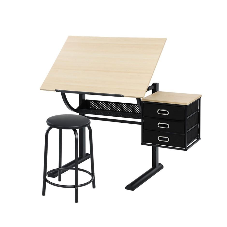 Artiss Drawing Desk With Stool Tilt Drafting Table Natural Black