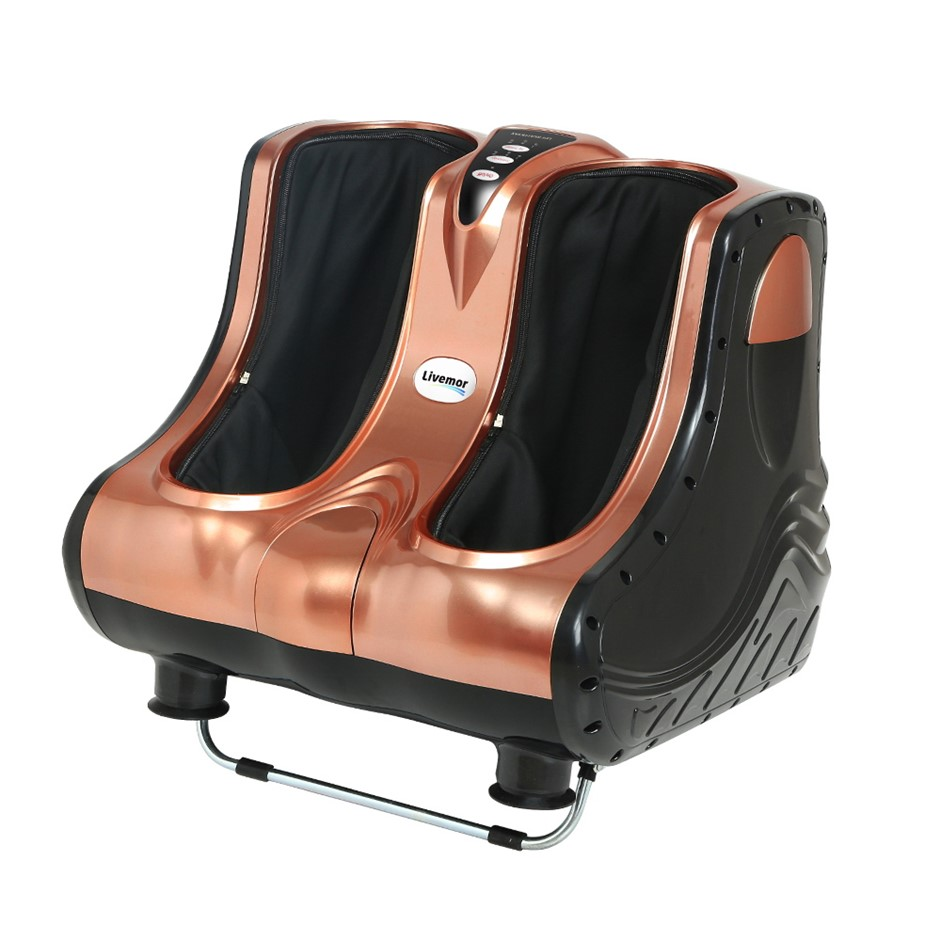 Livemor 3D Foot Massager Shiatsu Machine Ankle Calf Leg Kneading Rose Gold