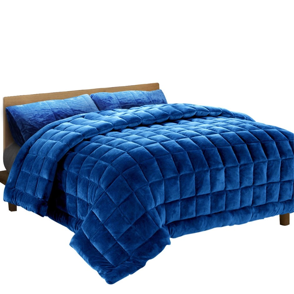 Giselle Bedding Faux Mink Quilt Comforter Fleece Throw Navy Single
