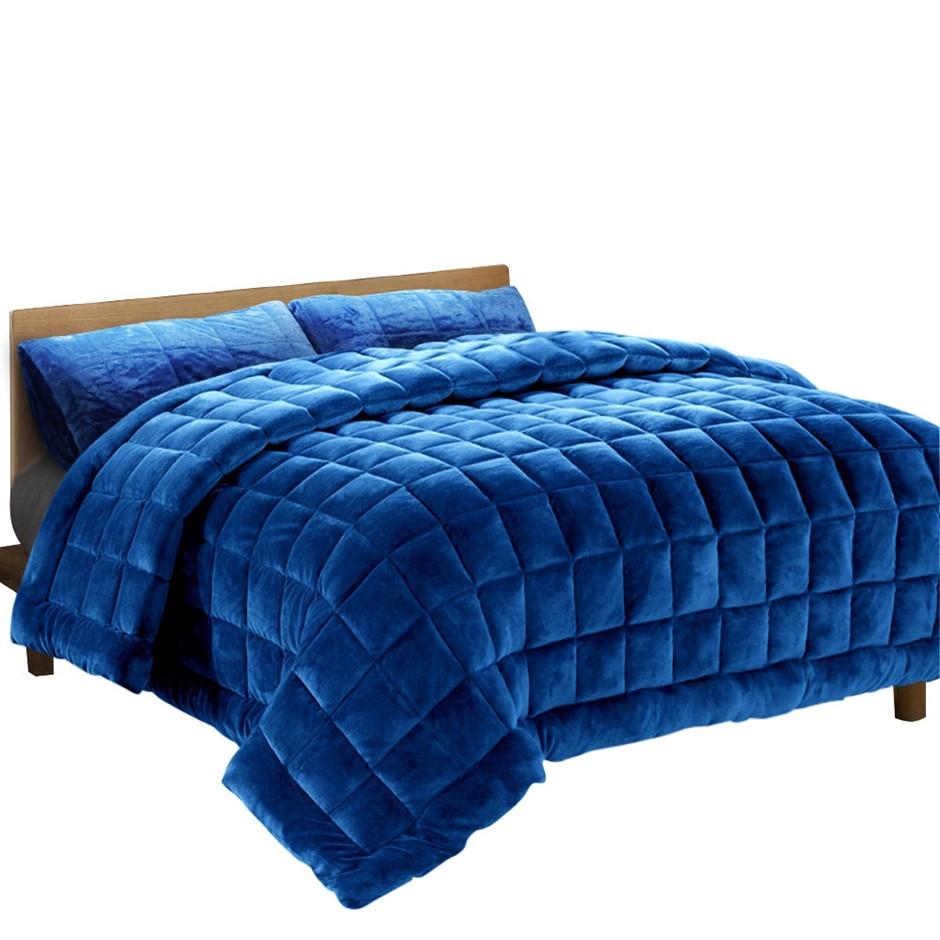 Giselle Bedding Faux Mink Quilt Duvet Comforter Fleece Throw Navy Double