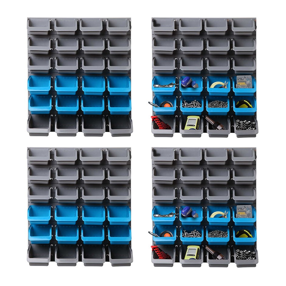 Giantz 96 Storage Bin Rack Wall-Mounted Tools Garage Shelving Organiser