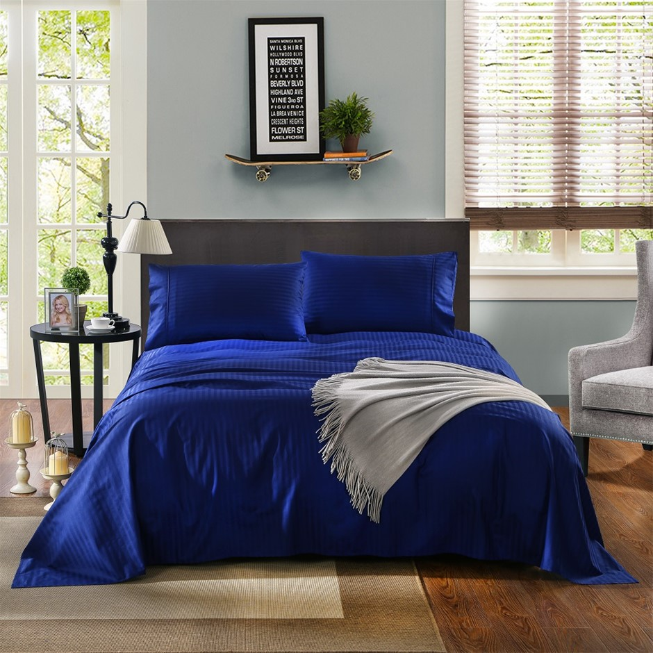 Kensington 1200TC 100% Egyptian Cotton Sheet Set In Stripe-Single - Indigo