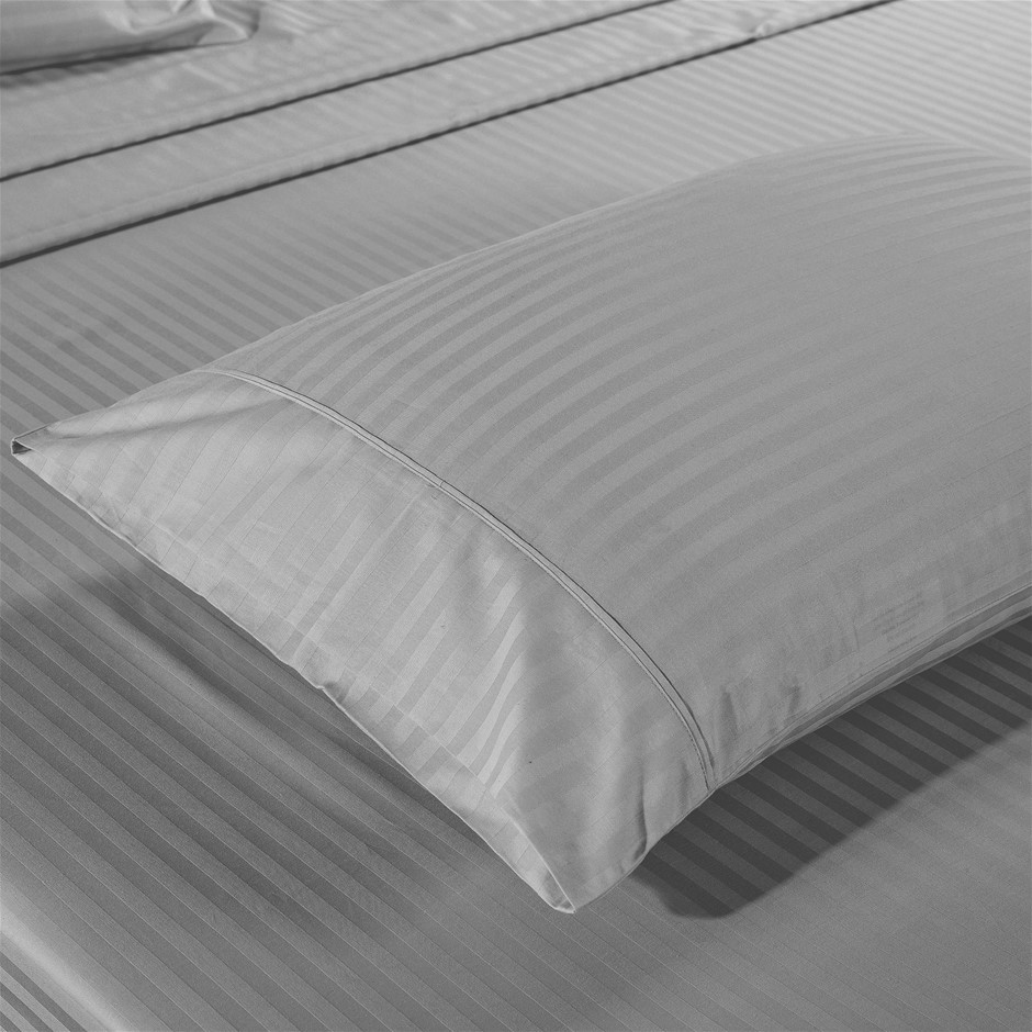 Kensington 1200TC 100% Egyptian Cotton Sheet set in Stripe Double- Silver