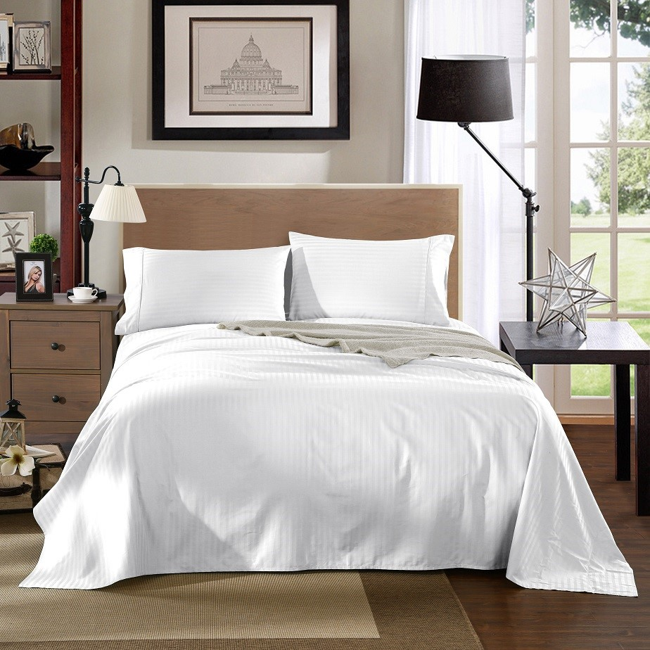 Kensington 1200TC 100% Egyptian Cotton Sheet set in Stripe Queen - White