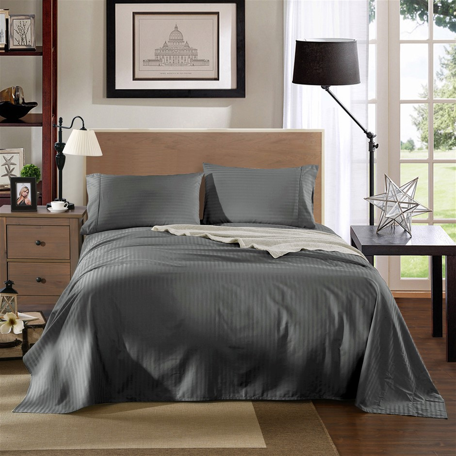 Kensington 1200TC 100% Egyptian Cotton Sheet Set In Stripe-Queen - Charcoal