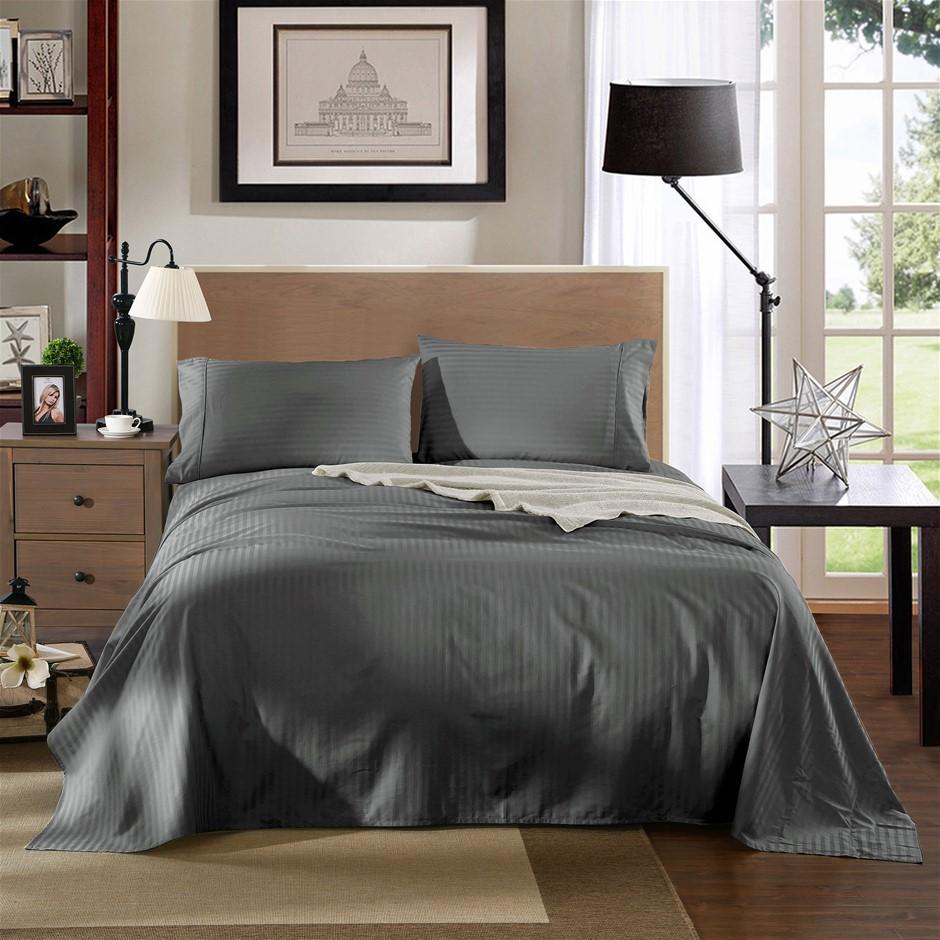 Kensington 1200TC 100% Egyptian Cotton Sheet Set In Stripe-Queen - Charcoal