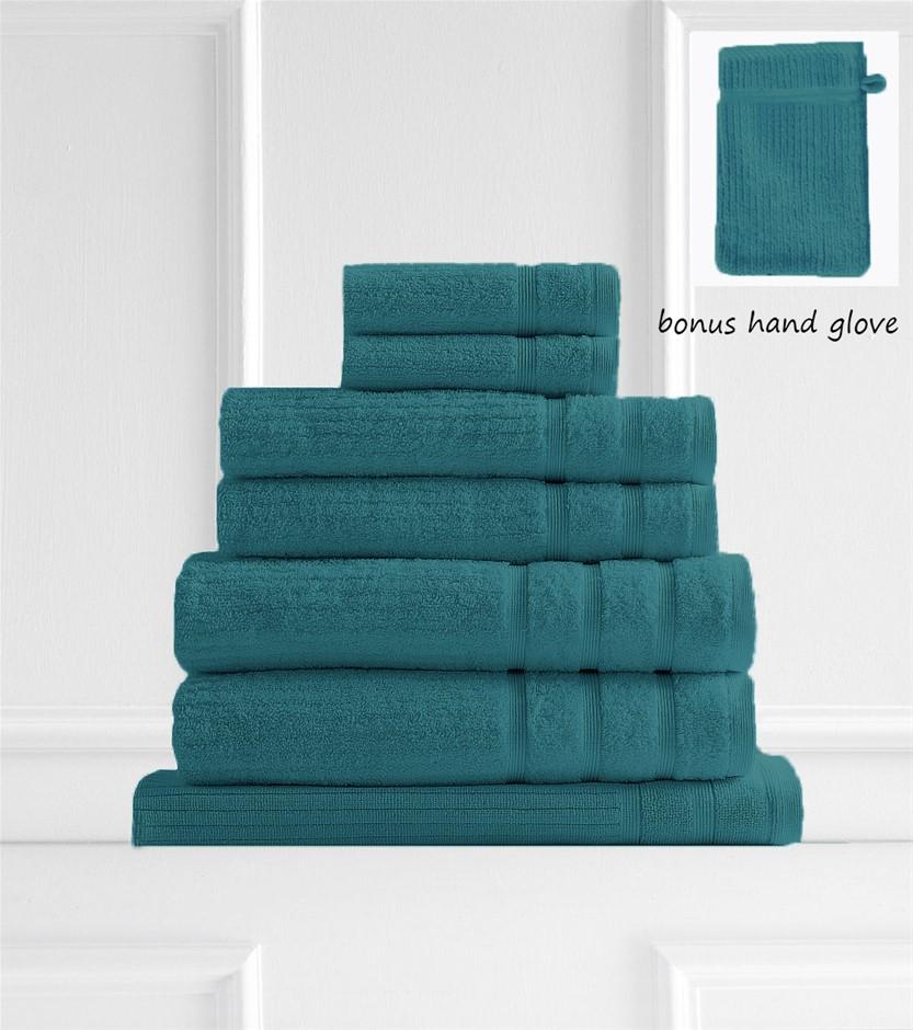 Royal Comfort Eden 600GSM 100% Egyptian Cotton 8 Piece Towel PK -Turquoise