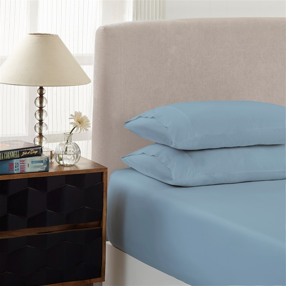 Royal Comfort 1500TC Cotton Rich 2-Piece Fitted Sheet Set Single - Indigo