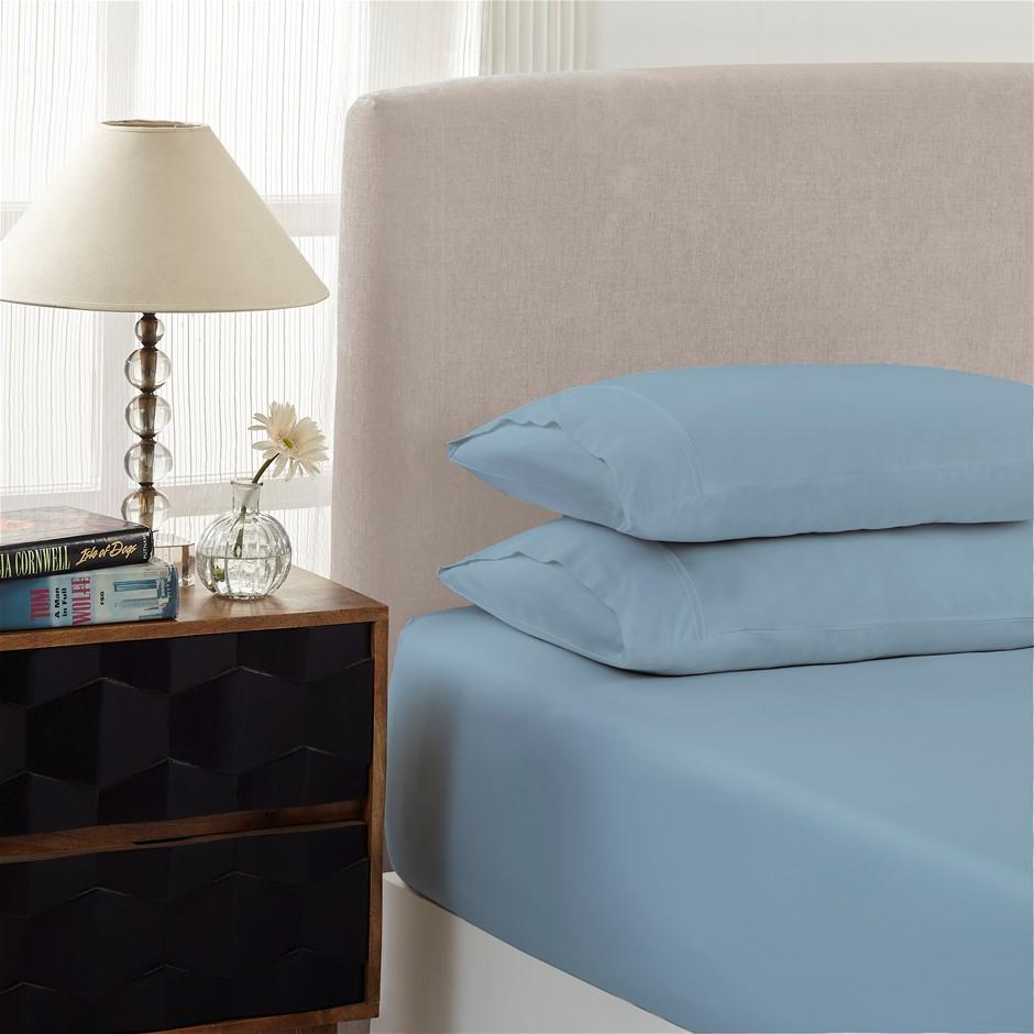 Royal Comfort 1500TC Cotton Rich 3-Piece Fitted Sheet Set - Double - Indigo