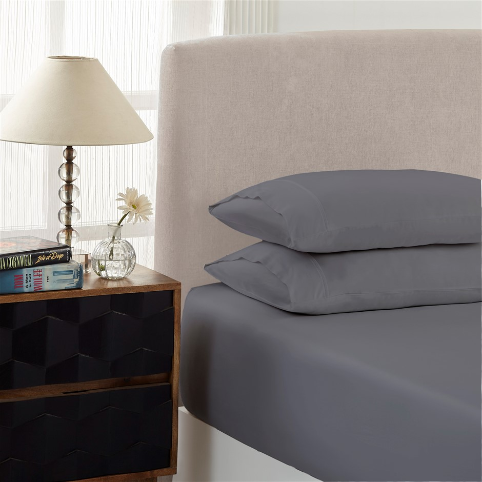 Royal Comfort 1500TC Cotton Rich 3-Piece Fitted Sheet Set Queen - Dusk Grey