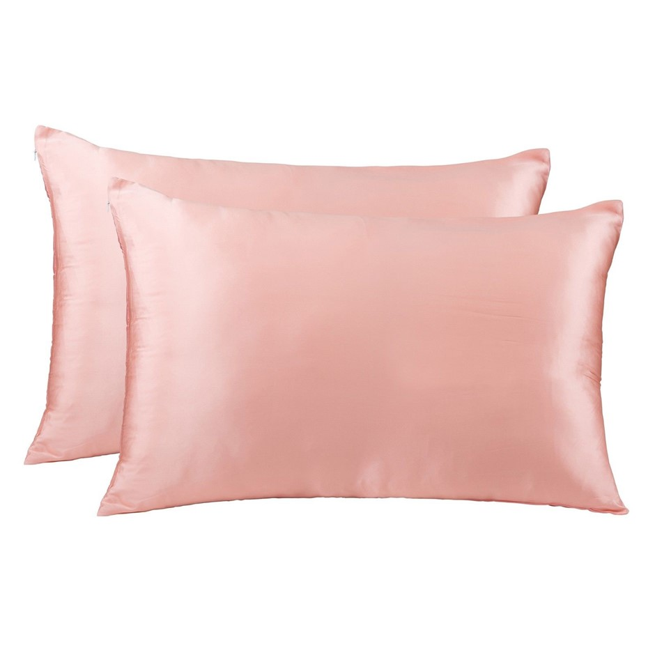 Royal Comfort Mulberry Silk Pillowcase Twin Pack - Living Coral
