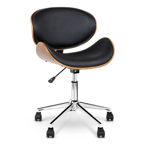 Wooden & PU Leather Office Desk Chair -