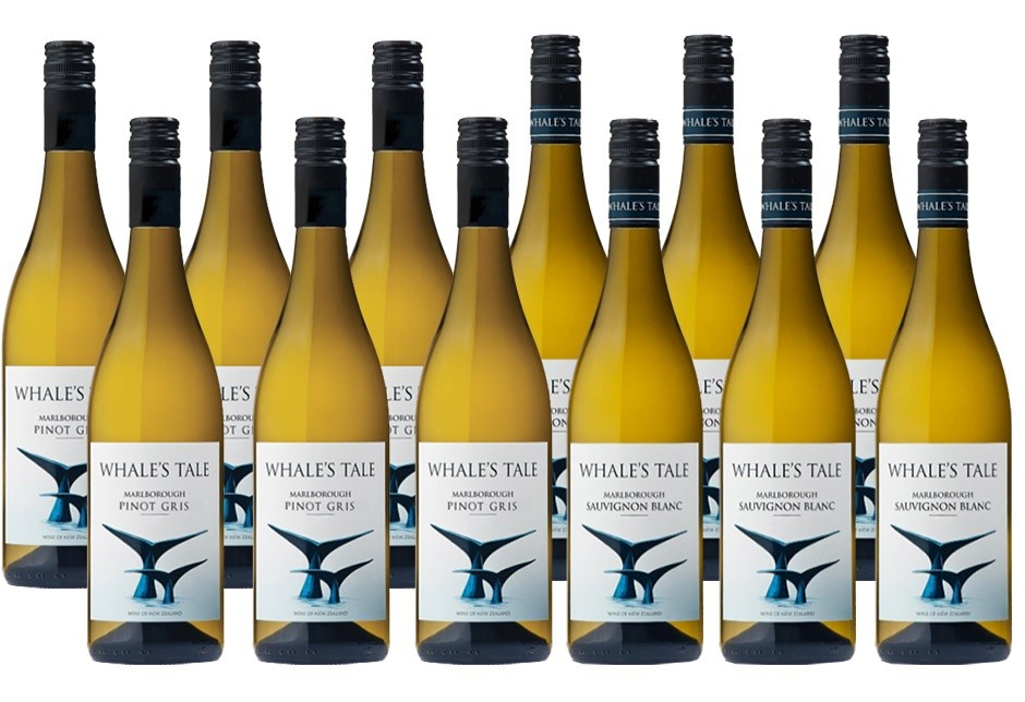 Whales Tale Sauv Blanc & Pinot Gris Mixed Case (12x750ml) Marlb, NZ