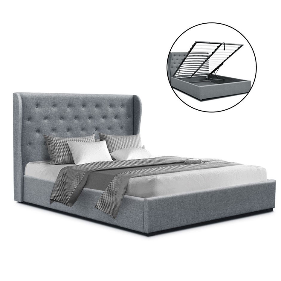 Artiss Double Full Gas Lift Bed Frame Base With Storage Grey Fabric
