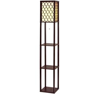 Artiss Floor Lamp Wood Shelf Modern Livi