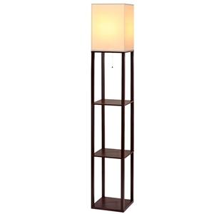 Artiss Shelf Floor Lamp Wood Reading Lig