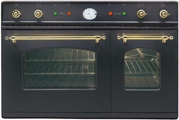 Ilve 90CM Nostalgie Double Oven Matt Black & Brass