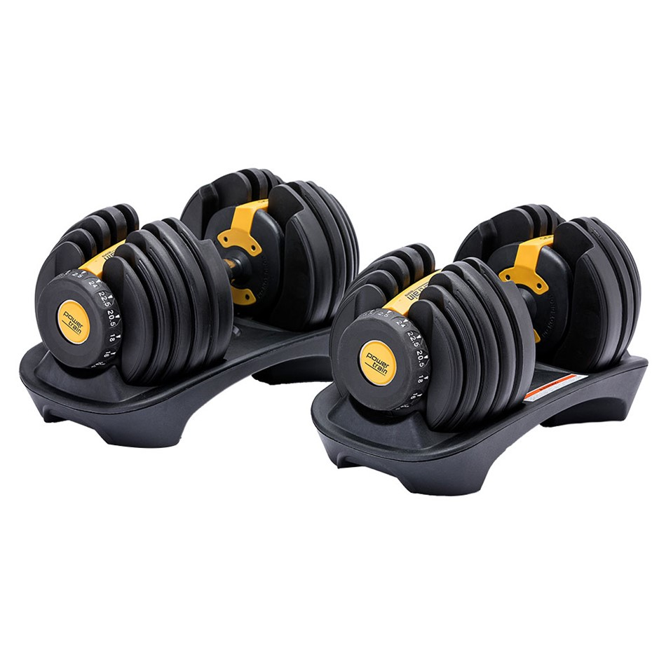 48kg Powertrain Adjustable Dumbbell Set With Stand Gold