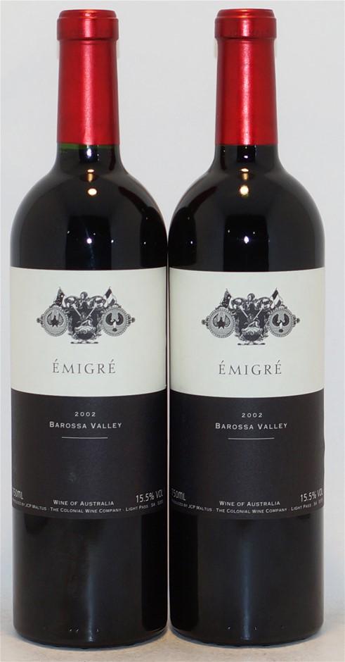 The Colonial Wine Company `Émigré` Shiraz 2002 (2x 750mL), Barossa. Cork.